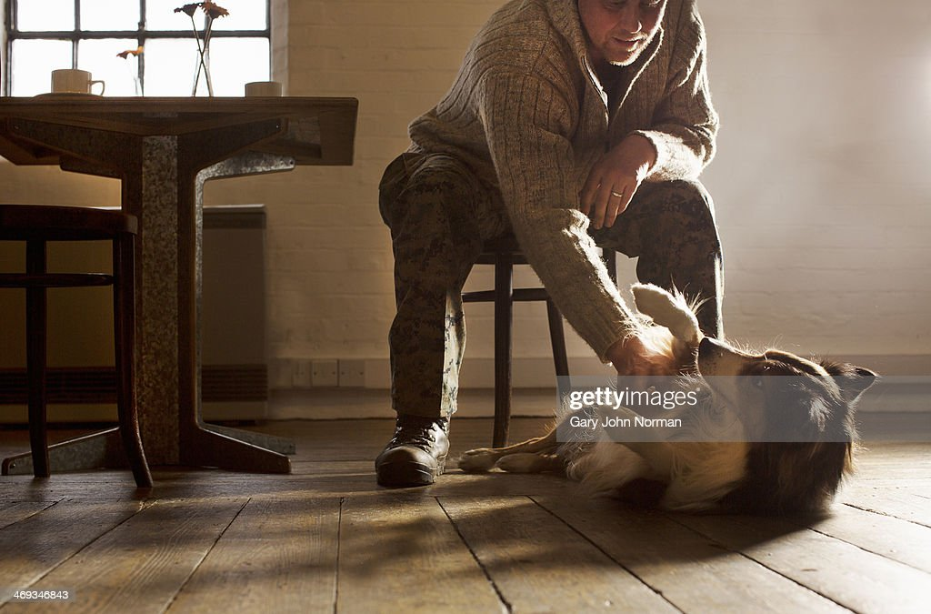 man rubbing dog's belly : Stock Photo