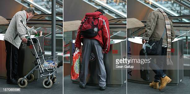 A man rummages in a trash bin for empty bottles at Hauptbahnhof train station on the same day that media reported the government has omitted certain...
