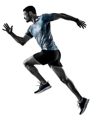 man runner jogger running jogging isolated shadows 1065183698
