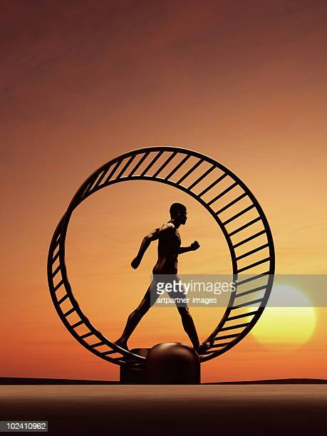 Man Running in a Hamster Wheel