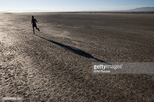 man running in desert, shadow cast on dry lake bed - el mirage dry lake stock photos and pictures
