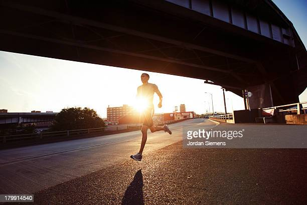 A man running in the city.