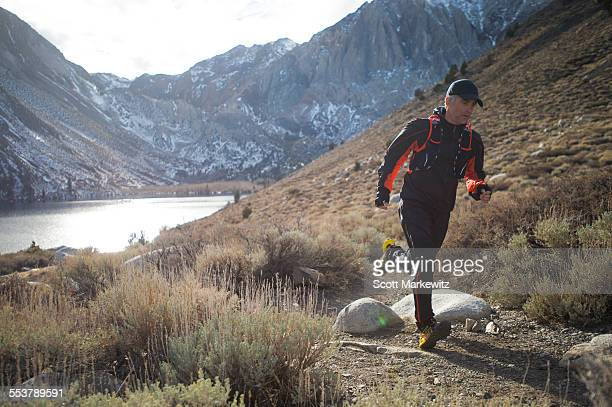 Man Running in the Mountains in California