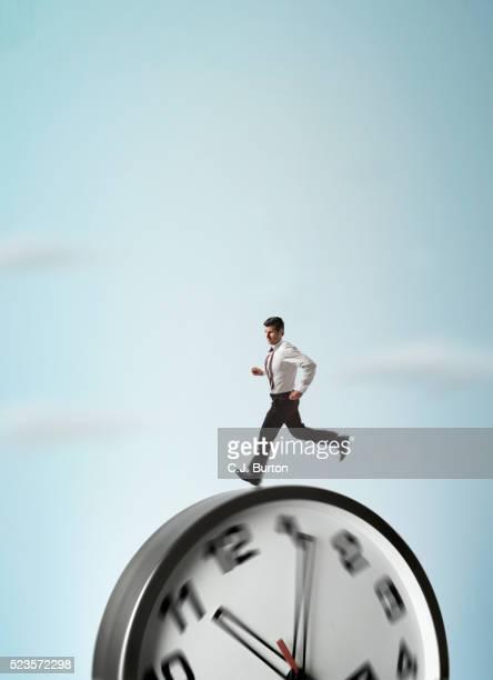 Man running on clock