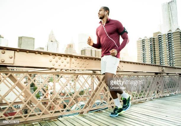 Man running on the brooklyn bridge