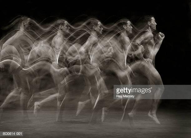 Man running, profile (multiple exposure, toned B&W))