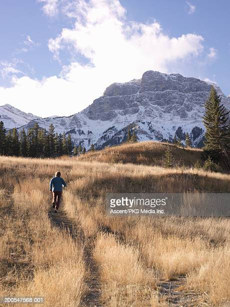 Man running up mountain trail, rear view
