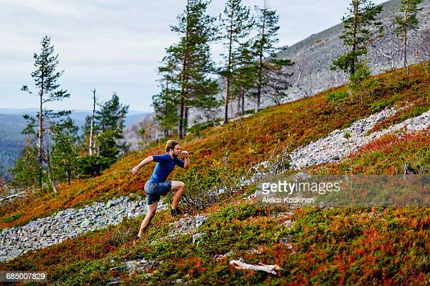 Man running up steep hill, Kesankitunturi, Lapland, Finland