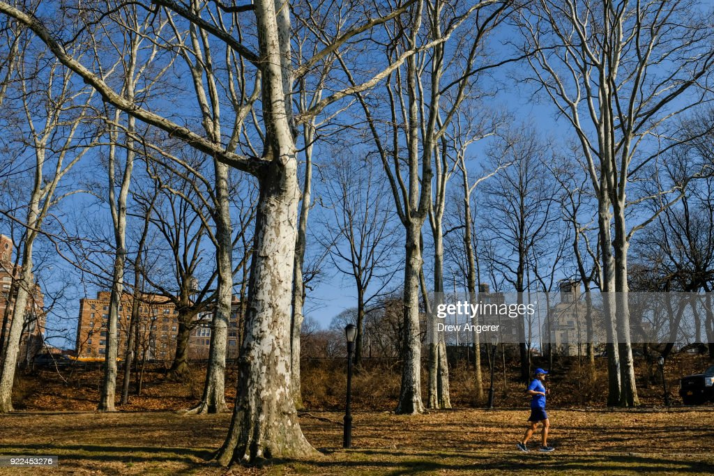 A man runs along the Hudson River Greenway on an unseasonably warm afternoon, February 21, 2018 in New York City. New York City saw temperatures reaching into the 70s on Wednesday afternoon.