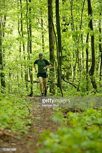 A man runs on the Cumberland Trail below Signal Mountain near Middle Creek outside Chattanooga, TN