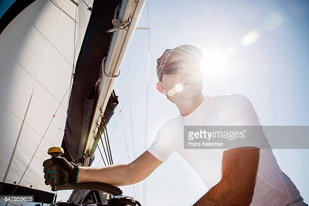 Man sailing yacht