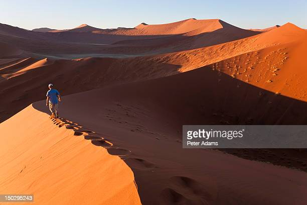 Man, Sand Dunes, Namib Naukluft, Namibia