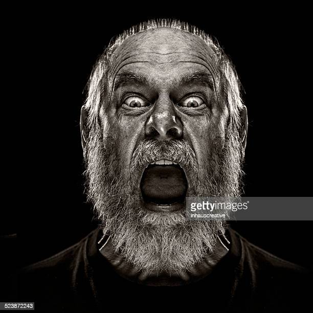 man screaming and looking terrified - shouting stock photos and pictures