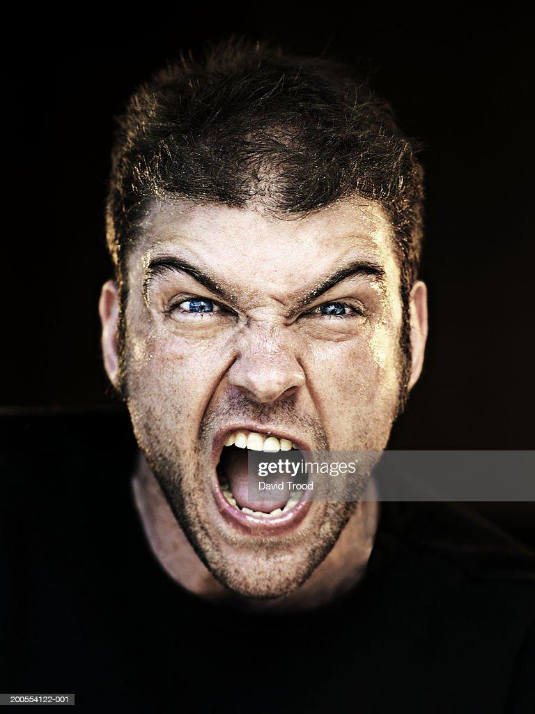 Closeup Portrait Of A: Man Screaming Closeup Portrait Stock Photo