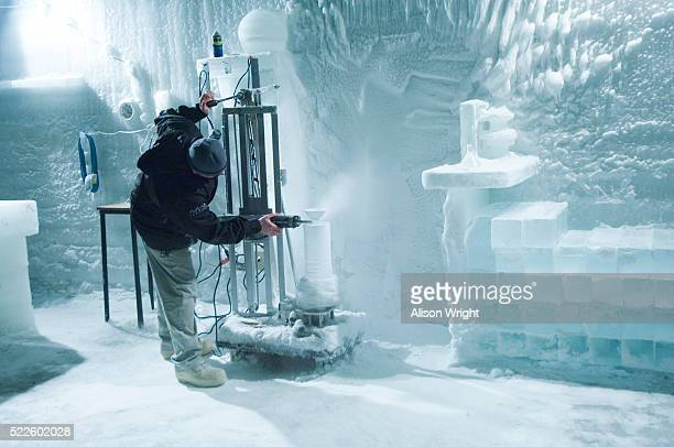 Man Sculpting Ice at Ice Museum in Chena Hot Springs