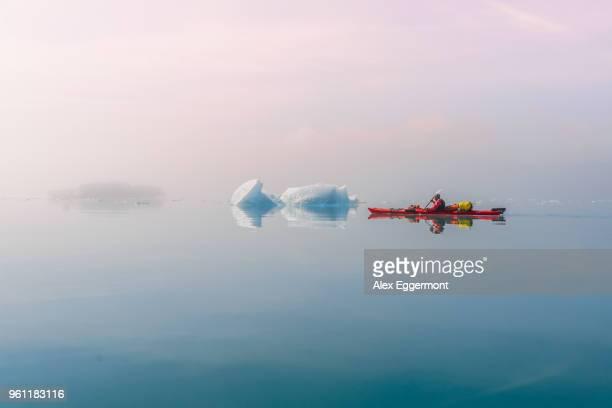 man sea kayaking in fjord, narsaq, kitaa, greenland - sea kayaking stock pictures, royalty-free photos & images