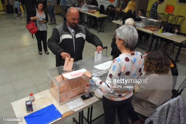 A man seen casting his vote at a polling station during the Spanish general elections in El Vendrell Tarragona Catalonia