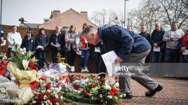 A man seen paying tribute to the victims of Hillsborough outside the football stadium of Sheffield Wednesday Hundreds of people gather outside the...