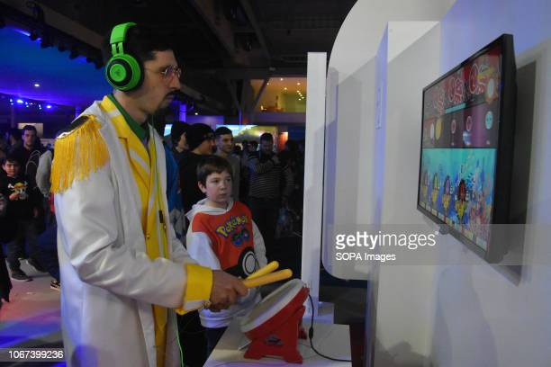 L´HOSPITALET CATALONIA SPAIN A man seen playing a video game during the Barcelona Games World Fair