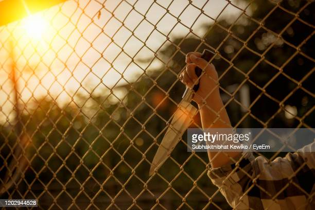 man seen through chainlink fence - murder stock pictures, royalty-free photos & images