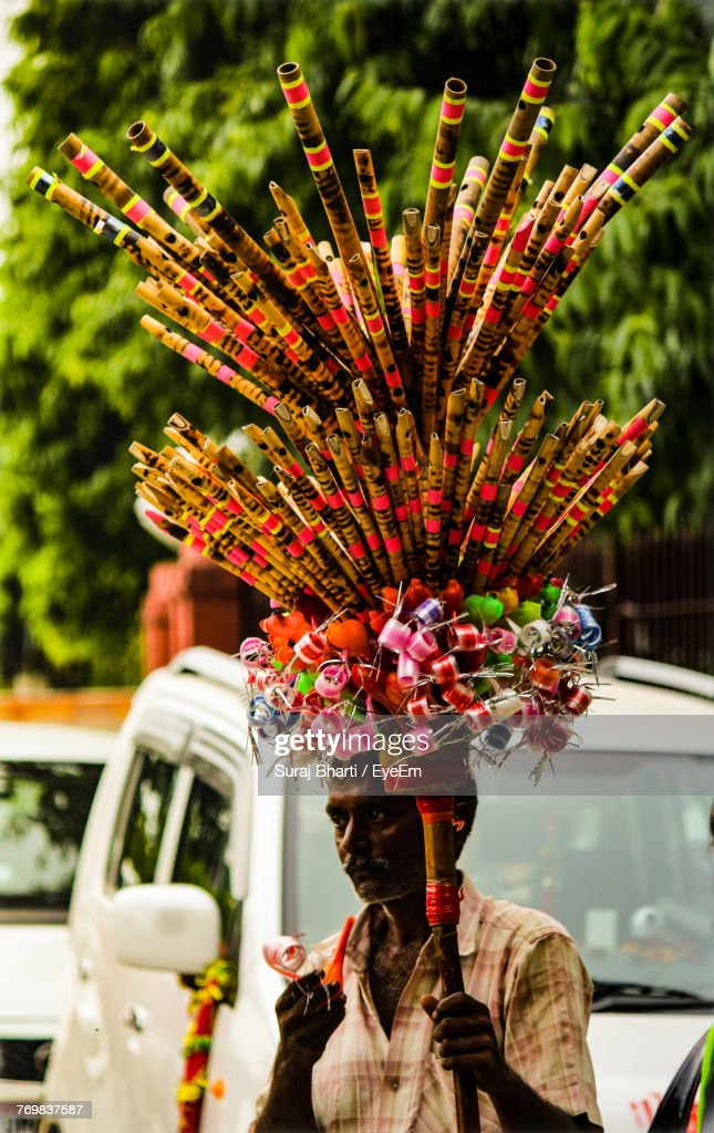 Man Selling Bamboo Flute : Stock Photo