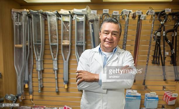 Man selling orthopedics equipment