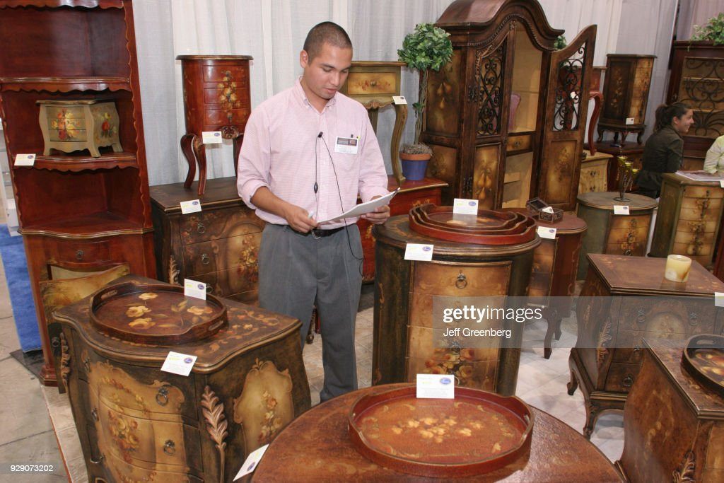 A man selling Peruvian furniture at the Home Design and Remodeling Home Design And Remodeling Show on home decorating shows, home makeover shows, home craft,