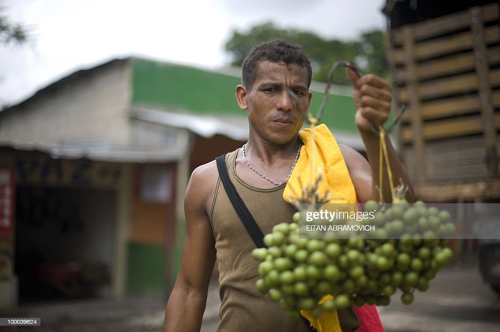 A man sells grapes on the route from Santa Marta to Aracataca, department of Magdalena, Colombia's Caribbean Region on May 20, 2010. AFP PHOTO/Eitan Abramovich