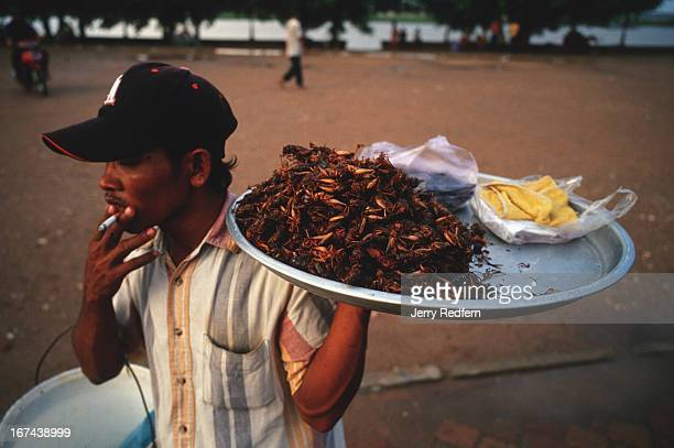 A man sells grilled crickets along the riverfront promenade in Phnom Penh They are sold salted and are a common and popular snack in Cambodia