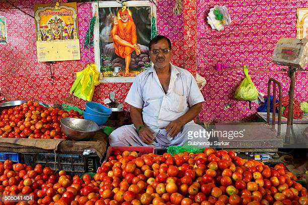 A man sells vegetables in Goubert Market in Puducherry Puducherry formerly known as Pondicherry is a Union Territory of India In 1674 Pondicherry...