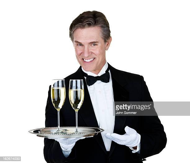 Man serving champagne