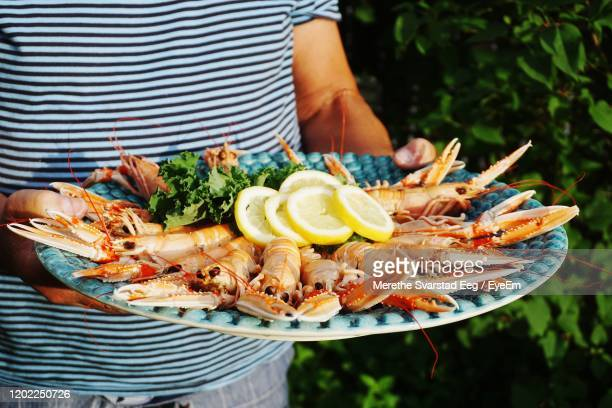 man serving crayfish at a garden party - crayfish seafood stock pictures, royalty-free photos & images