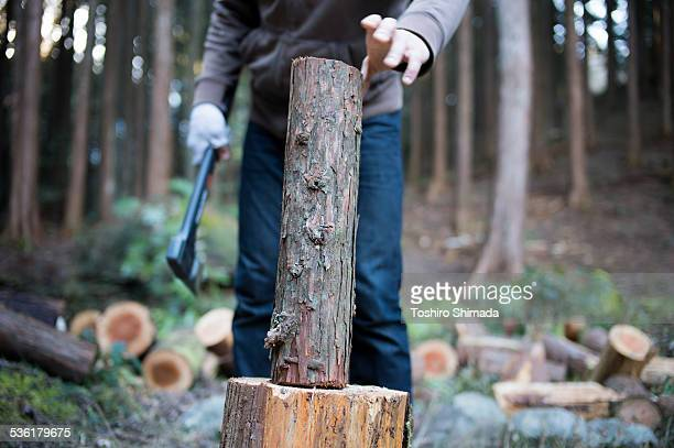 A man setting to split a log
