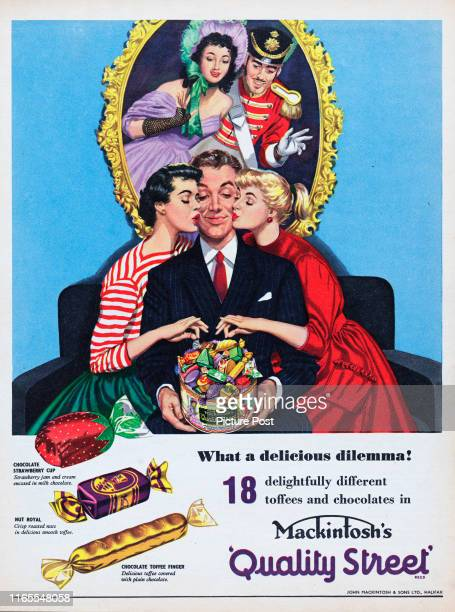 A man shares a container of Mackintosh's Quality Street toffee and chocolates with two friends with the caption 'What a delicious dilemma' Original...
