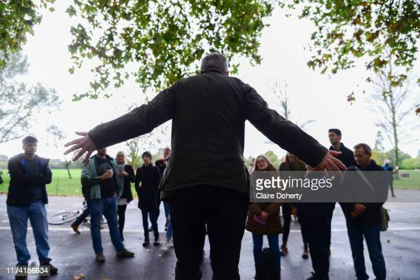 A man shares his thoughts on equality with an audience at Speakers Corner in London United Kingdom on 6th October 2019 Speakers' Corner is an area in...