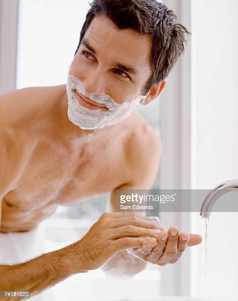 man shaving - shaving cream stock photos and pictures