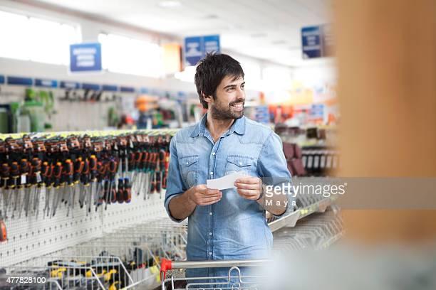 Man shopping hardware store