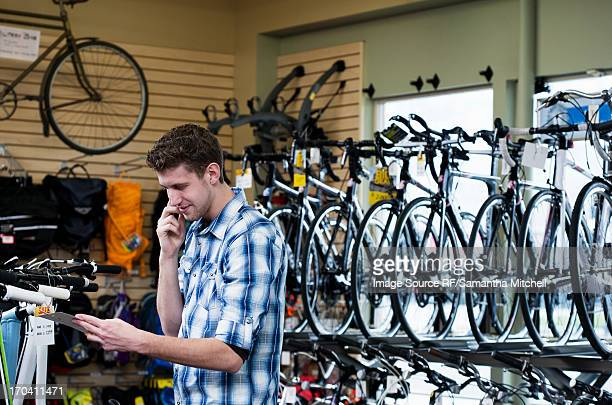 Man shopping in bicycle shop