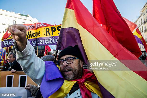 A man shouting slogans against monarchy during a demonstration demanding a Republic on the anniversary of the Spanish Constitution