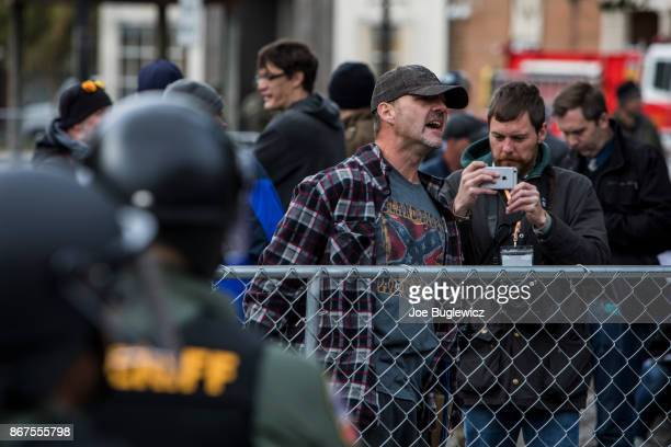A man shouts at counterprotestors during a White Lives Matter rally on October 28 2017 in Murfreesboro Tennessee Tennessee Gov Bill Haslam said state...
