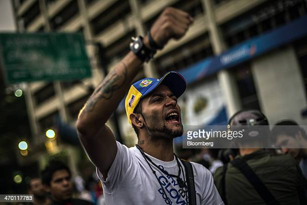 A man shouts at riot police during a demonstration by a group made up of mostly students in Caracas Venezuela on Monday Feb 17 2014 Venezuela's...
