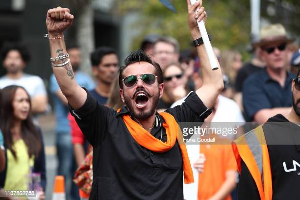 A man shouts during a march against racism at Aotea Square on March 24 2019 in Auckland New Zealand 50 people were killed and dozens were injured in...