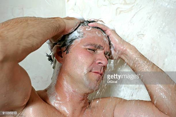 man showering - hairy man stock pictures, royalty-free photos & images