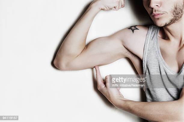 Man showing his biceps muscles