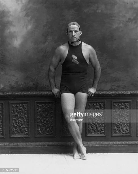 Man shown in swimming suit Fulllength photograph