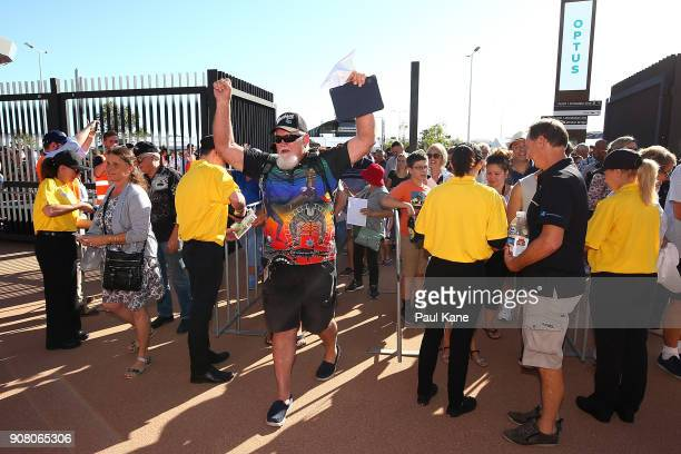 A man shows his delight after entering Optus Stadium on January 21 2018 in Perth Australia The 60000 seat multipurpose Stadium features the biggest...