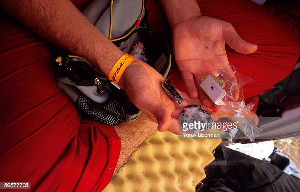 A man shows his drugs during the Solipse festival June 22 2001 in Zambia The group of German trance lovers decided to organize the Solipse festival...