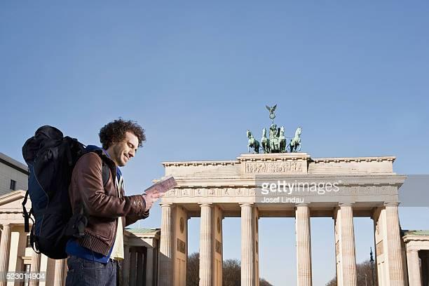 Man sightseeing at the Brandenburg Gate