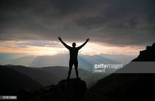 Man Silhouette against Spectacular Nature Sunset