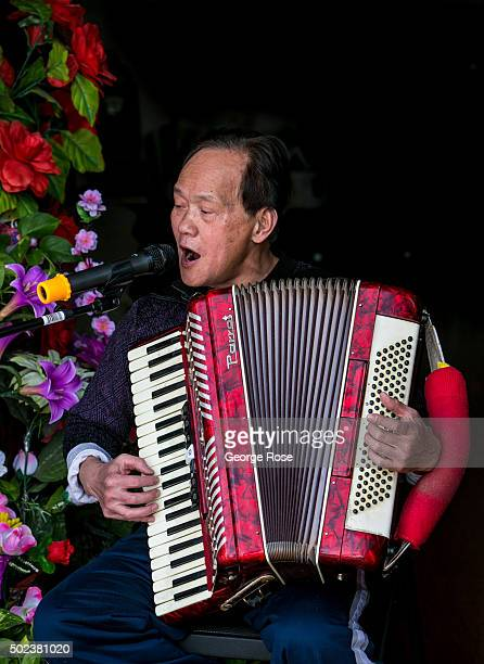 A man sings and plays the accordian in a Las Vegas Blvd strip mall nail salon as viewed on December 7 2015 in Las Vegas Nevada Tourism in America's...